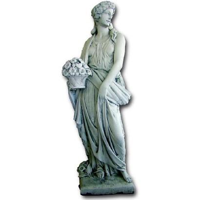 Statue de jardin en pierre femme saison printemps le for Statue de jardin en pierre