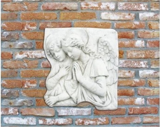 plaque murale en pierre bas relief anges en pri res le. Black Bedroom Furniture Sets. Home Design Ideas