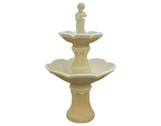 Fontaine en pierre 2 vasques en fleur avec statue gar on for Vasques pour fleurs jardin