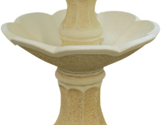 fontaine en pierre 2 vasques en fleur avec statue gar on. Black Bedroom Furniture Sets. Home Design Ideas