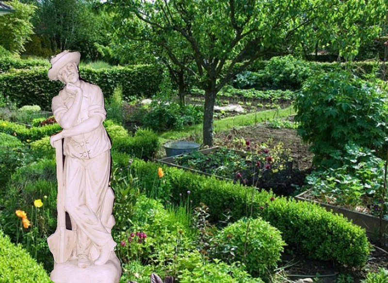Statue de jardin en pierre homme le jardinier pensif - Vase en pierre jardin ...