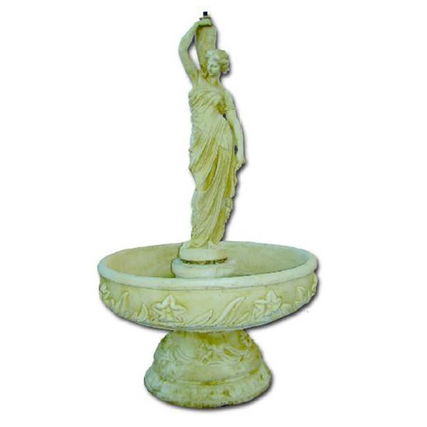 Fontaine grande vasque fleurie femme à la cruche | Le bon vivre