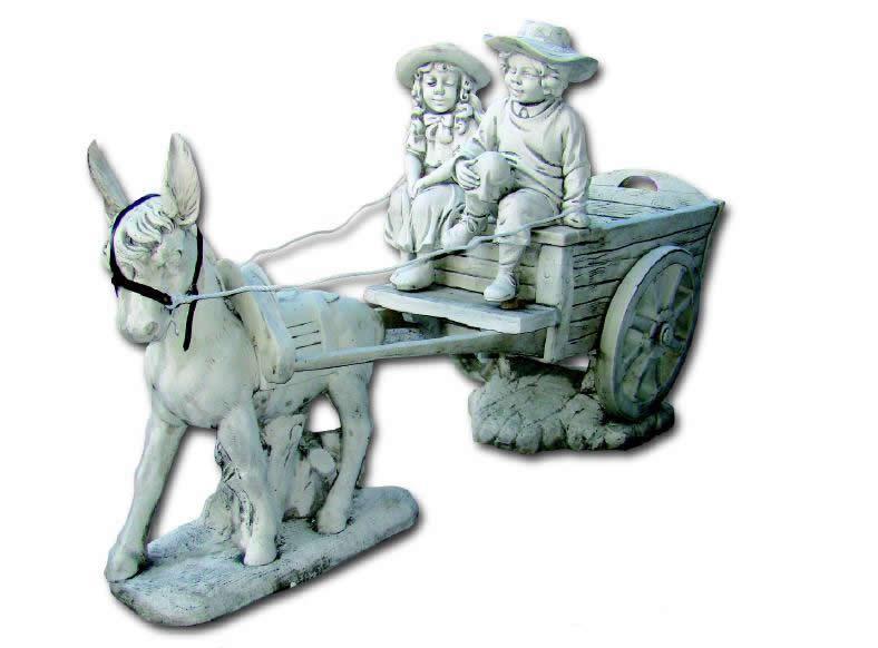 Statue enfants aux chapeaux sur charrette avec ane le for Ane decoration jardin