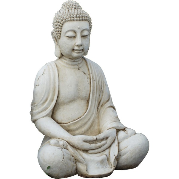 Statue de jardin en pierre bouddha assis 66 cm le bon - Bouddha de jardin ...