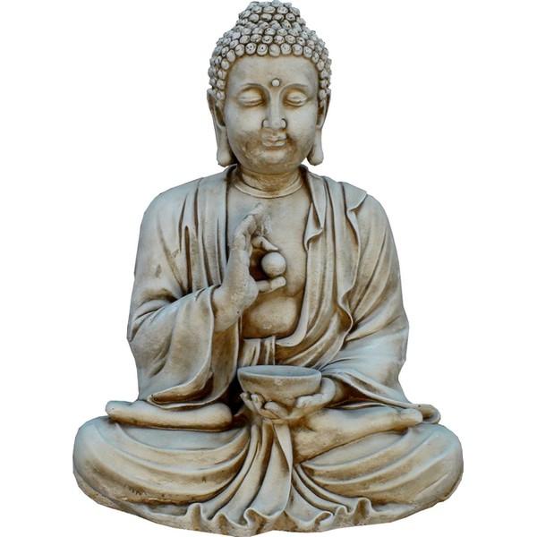Statue de jardin en pierre bouddha assis 80 cm le bon - Statue bouddha exterieur pour jardin ...