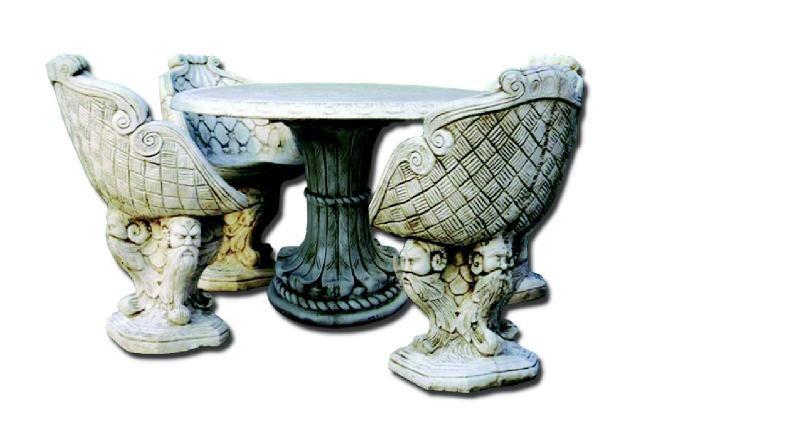 Salon de jardin en pierre reconstitu e avec fauteuils le - Salon de jardin en pierre reconstituee ...