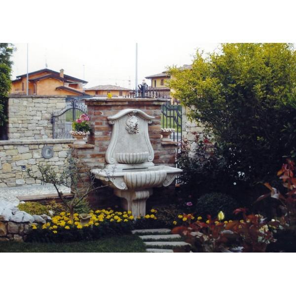 Fontaine en pierre reconstitu e murale en pierre avec t te - Tete de bouddha en pierre pour jardin ...