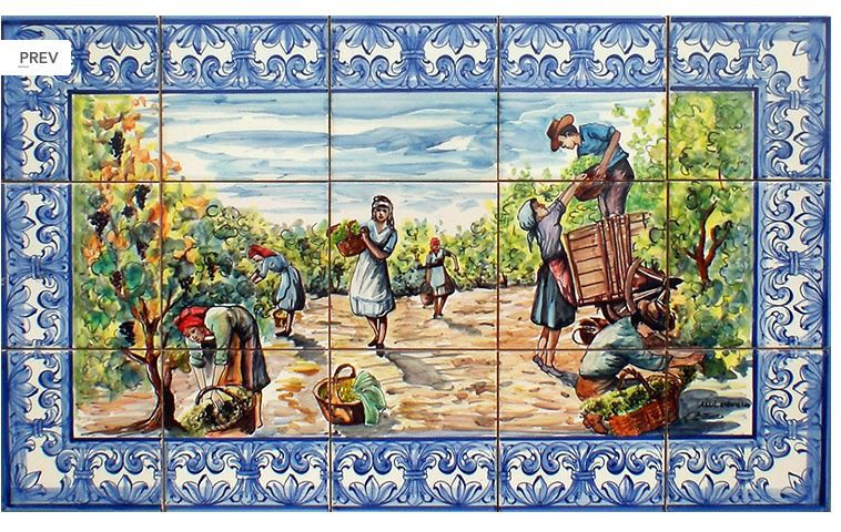 Fresque murale journ e de vendanges le bon vivre for Fresque carrelage
